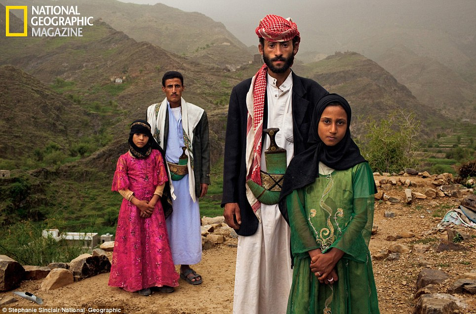'Whenever I saw him, I hid. I hated to see him': Tahani (in pink) was just six years old when she she married Majed, 25 (standing next to her). The young wife posed for this portrait with former classmate Ghada, also a child bride, outside their mountain home in Hajjah, Yemen  Read more: http://www.dailymail.co.uk/news/article-2001029/Child-brides-young-5-married-secret-middle-aged-men.html#ixzz1OoziS8vd