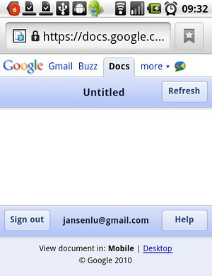 Google Docs Mobile Interface at Android 2.2