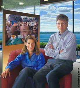 国家肖像美术馆展出慈善家比尔和梅林达·盖茨的画像