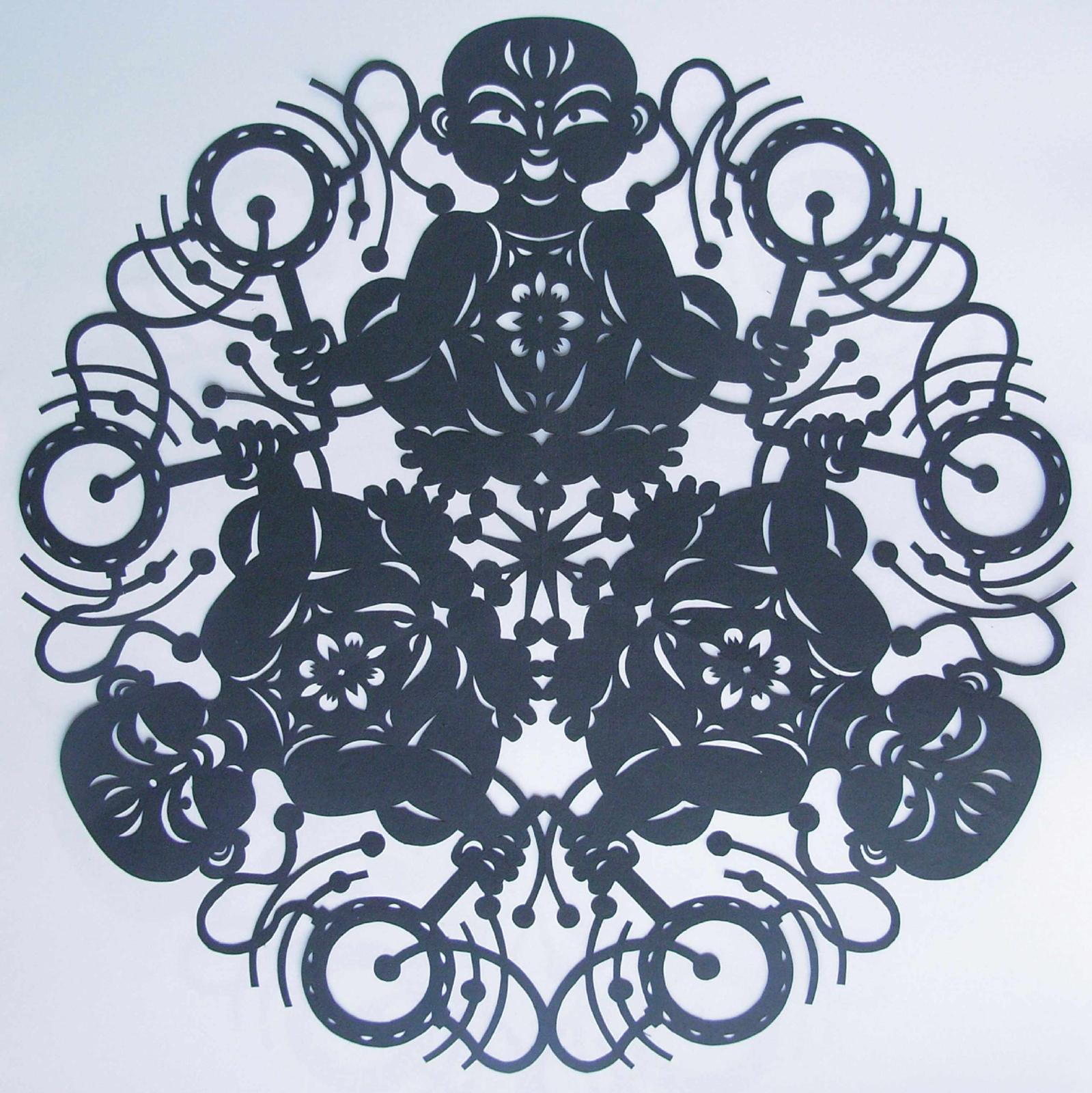 简单动物旋转的剪纸图案