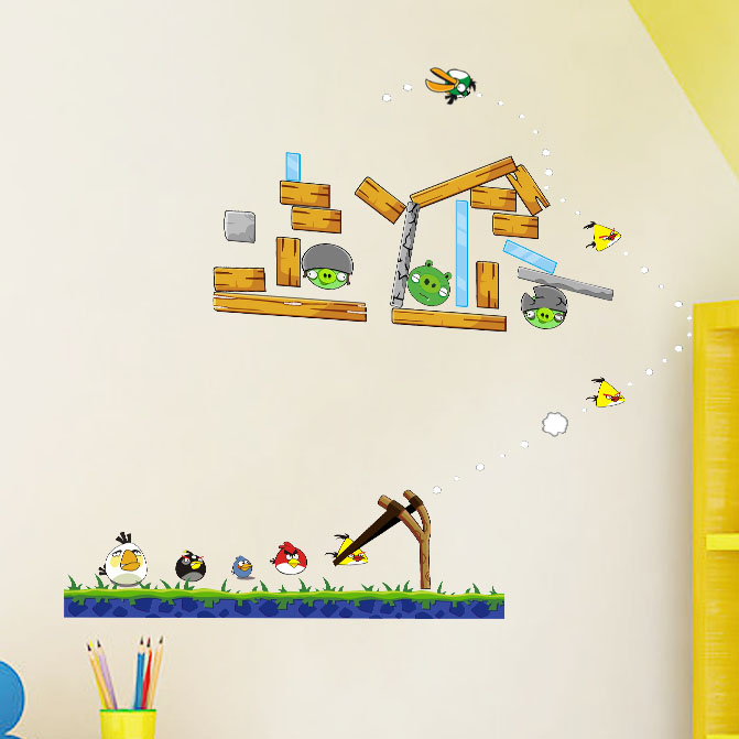 Hmdecor Wall Art Angry Birds Kids Wall Stickers