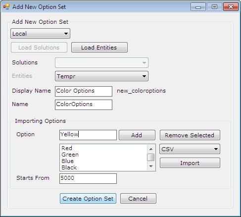 Create New Option Set