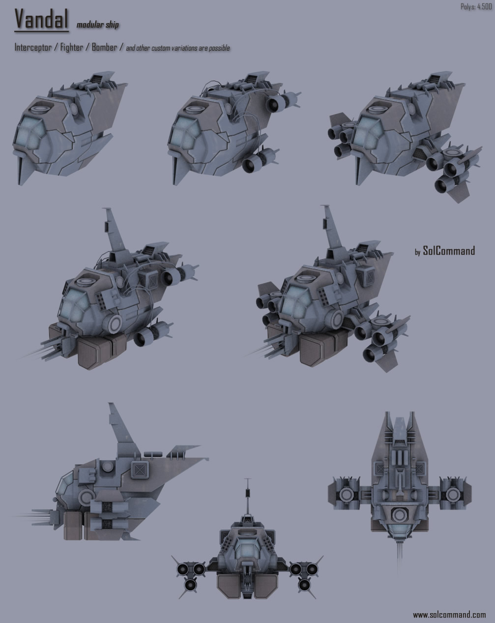 earth, terran, futuristic, sci fi, solcommand, 3d, free, download, low poly, textured, mesh, game ready, space, concept, modular, spaceship, fighter, bomber, interceptor, modules, vandal, outlaw, pilot, mining, criminal, raider, colony, convoy, transport, cargo, design,